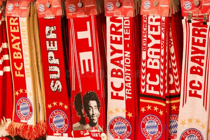 Bayern Munich Fan Shawls. Merchandising Fan shawls of Soccer Club FC Bayern Muenchen - Munich stock photos