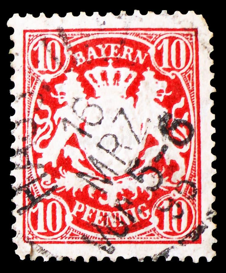 Bayern vapensköld Wm4, Bayern serie, circa 1888 arkivbild