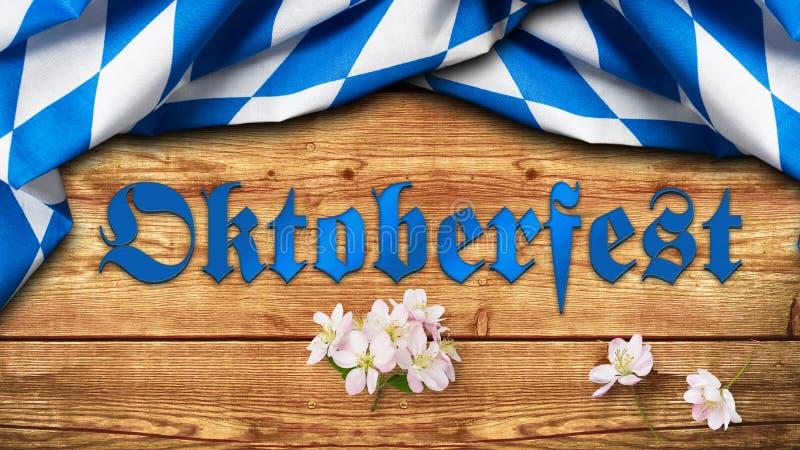 Bayersk bordduk och slogan 'Oktoberfest 2018 ', royaltyfri foto