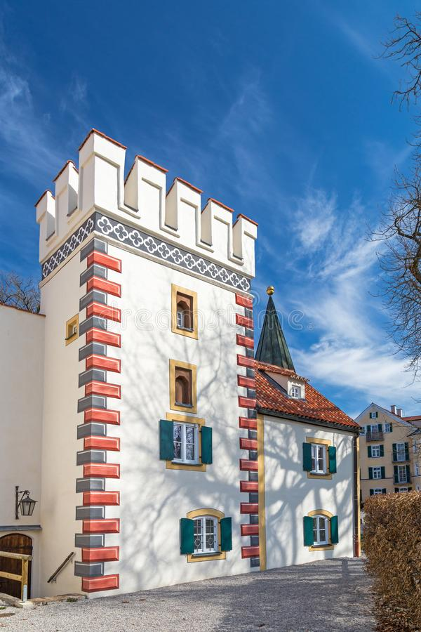 Bayertor在Landsberg,德国 免版税库存图片