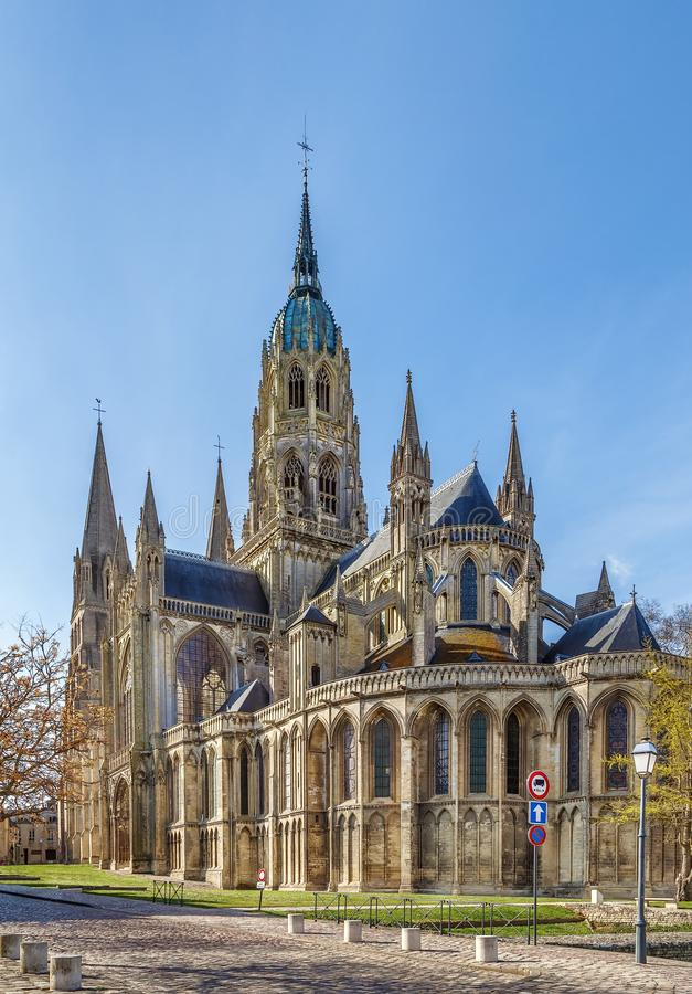 Bayeux Cathedral, France. Bayeux Cathedral is a Norman-Romanesque cathedral, located in the town of Bayeux, France stock images