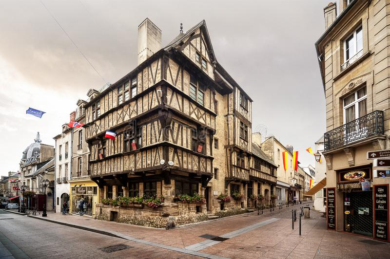 Bayeux - France: Old Norman building in Bayeux centre ville. France stock image