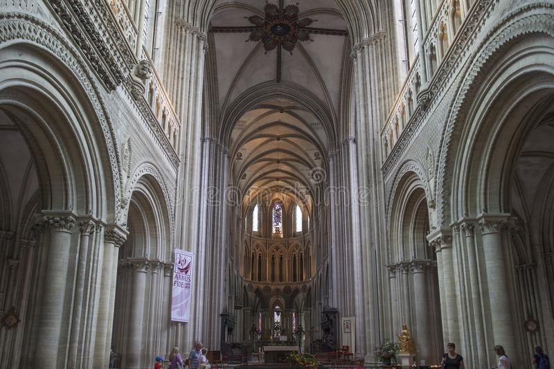 View of interior of Cathedral of Bayeux, France. royalty free stock photos