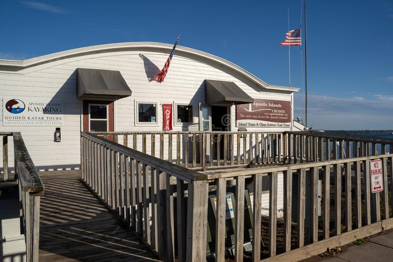 Bayfield, Wisconsin - October 19, 2019: Tour office for the Apostle Islands Cruises for passengers booking a tour on Lake Superior. Tour office for the Apostle royalty free stock photos