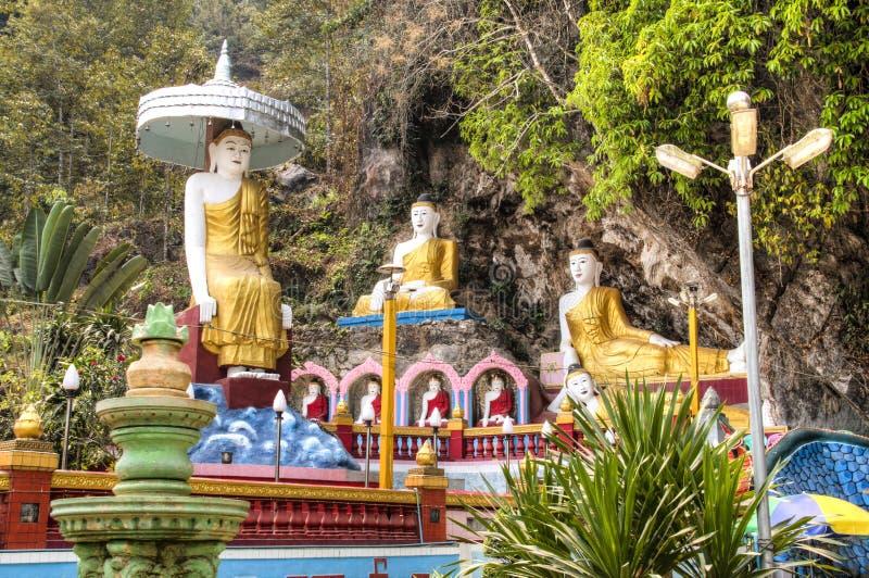 Bayin Nyi洞在Hpa-An,缅甸 免版税库存照片