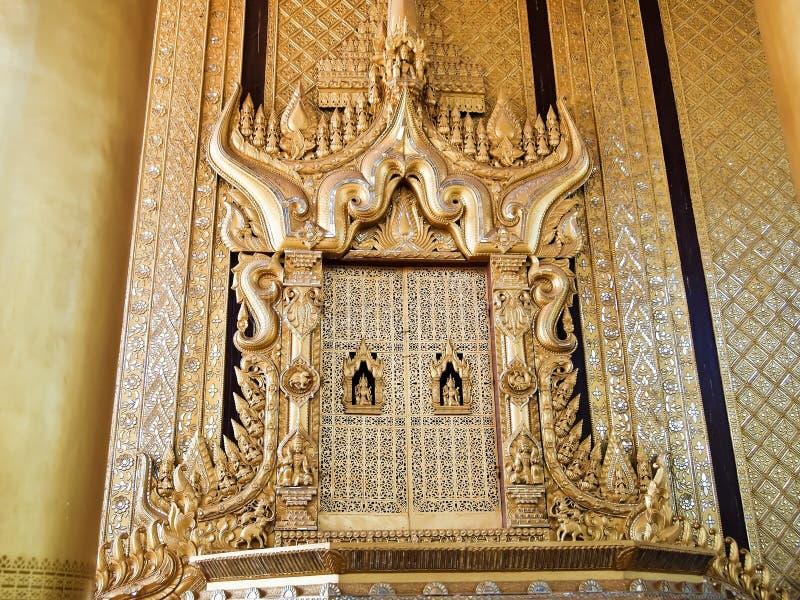 bayinnaung国王美丽的王位Kambawzathardi金黄好朋友的 免版税库存图片