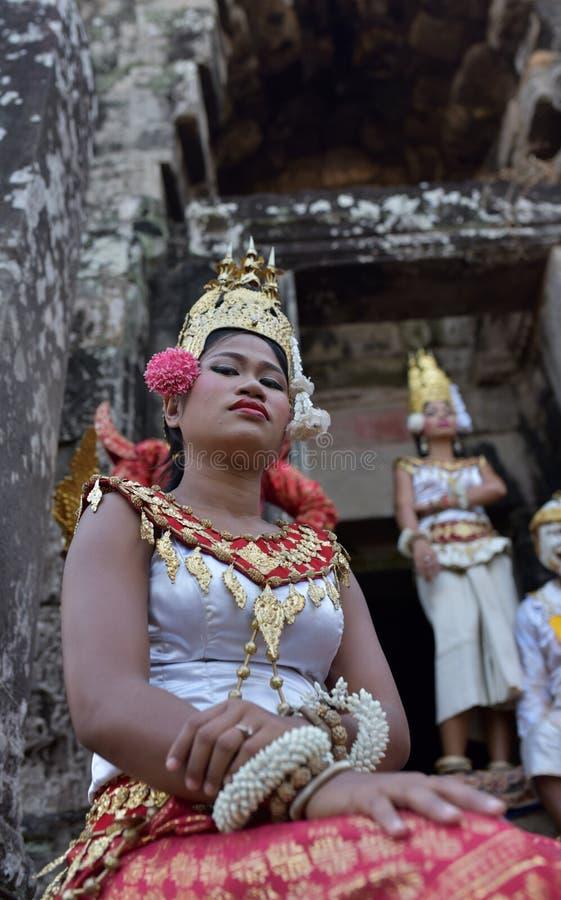Bayon寺庙的舞蹈家 免版税库存图片