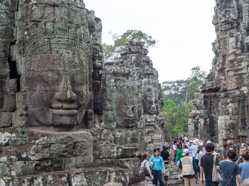 Bayon,吴哥城在柬埔寨 库存图片
