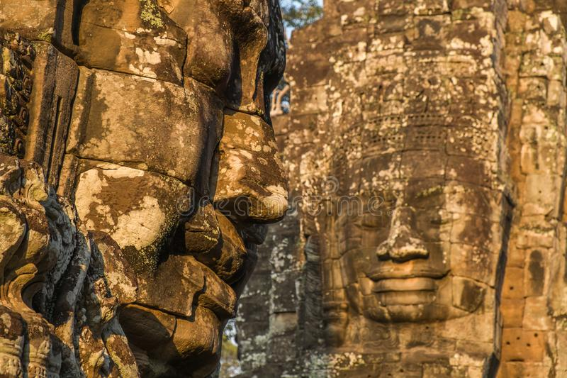 Bayon,吴哥窟,柬埔寨的面孔 库存照片