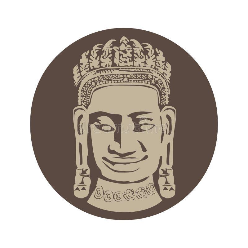 Bayon, Buda pacífico stock de ilustración