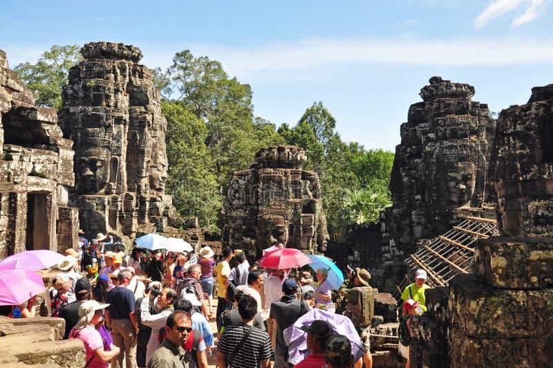 bayon cambodia nära riepsiemtempelet arkivbild