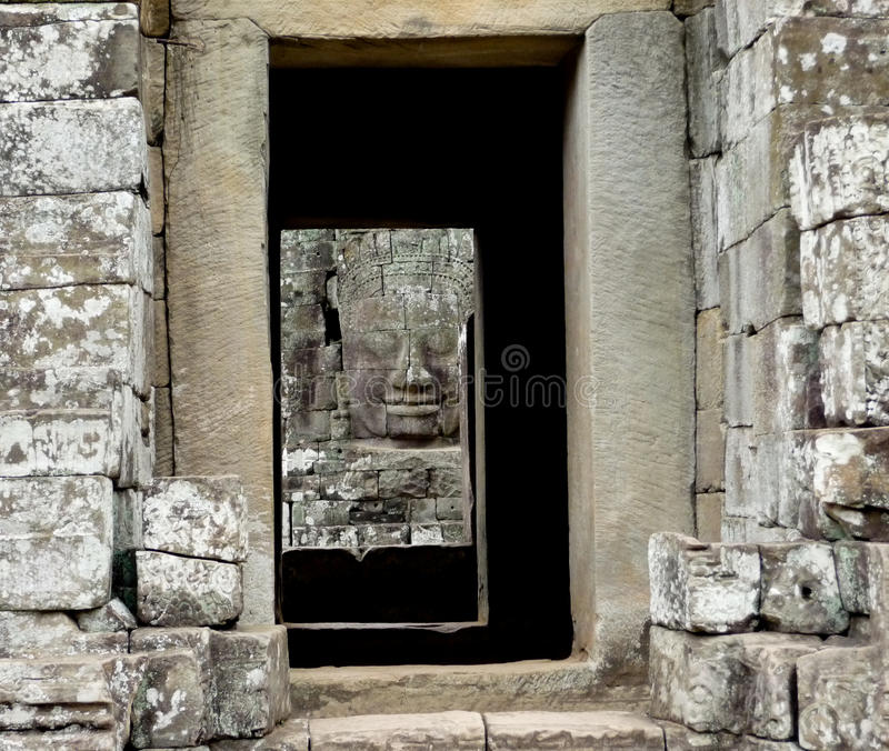 Bayon Face Framed stock image