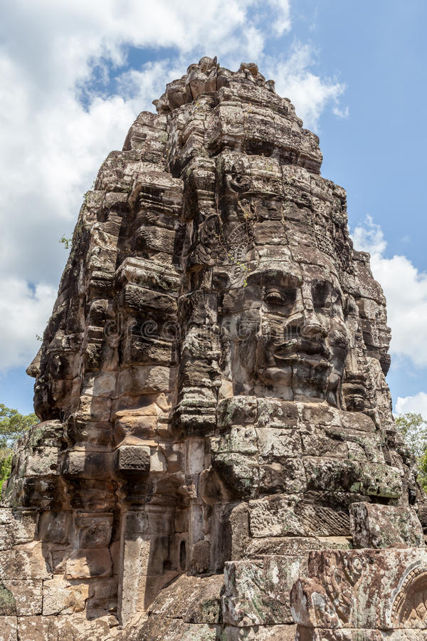 Bayon stone face in Angkor Wat, Siem Reap, Cambodia. The UNESCO world heritage, old stone face mural in Angkor Wat, Siem Reap, Cambodia stock photography