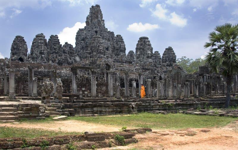 Bayon tempel - Angkor Wat - Cambodja arkivbilder