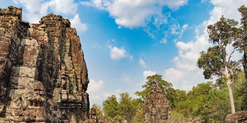 Bayon tempel i Angkor Thom Complex, Cambodja arkivfoto