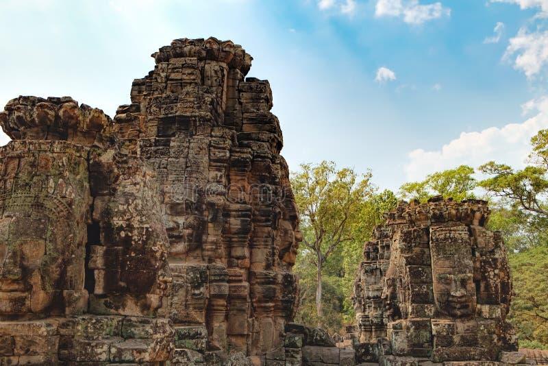 Bayon tempel i Angkor Thom Complex, Cambodja royaltyfria foton