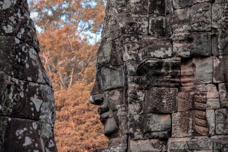 Bayon tempel i Angkor Thom, Siem Reap fotografering för bildbyråer