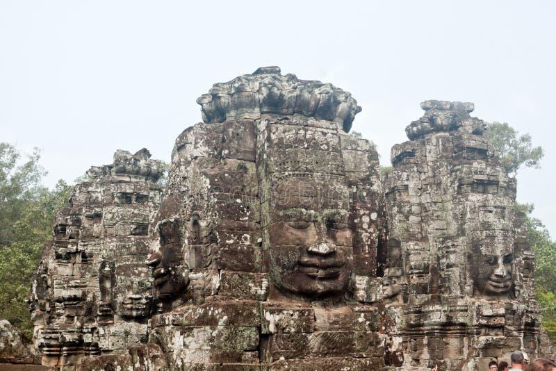 Bayon tempel i Angkor Thom, Siemreap, Cambodja arkivfoton