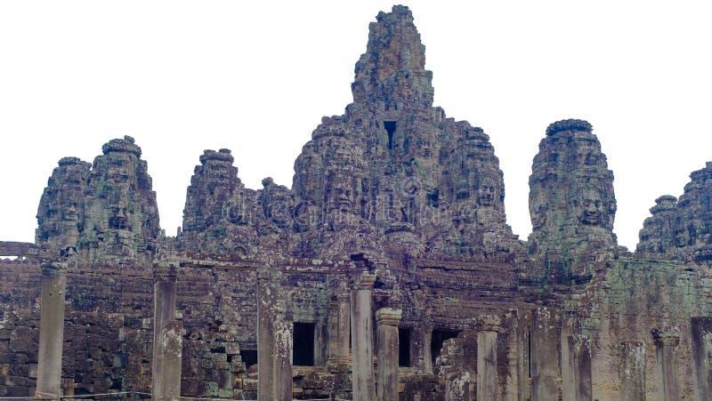 Bayon-Tempel lokalisiert auf Weiß stockfotografie