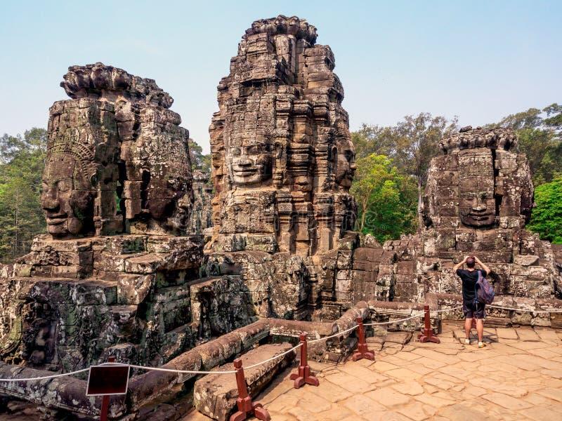 Bayon tempel på det Angkor Wat komplexet, Siem Reap, Cambodja arkivfoton