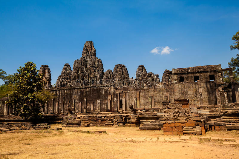Bayon temple Angkor Thom Cambodia. Architecture of old buddhist Angkor Archeological park temple - Bayon in Angkor Thom. Monument of Cambodia - Siem Reap royalty free stock photo