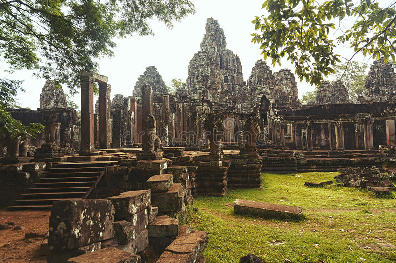 Bayon Temple in Cambodia. Ancient Bayon Temple Siem Reap in Cambodia royalty free stock images