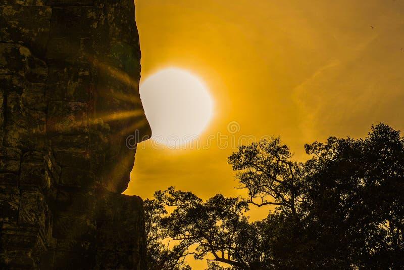 Bayon, temple d'Angkor Vat Siem Reap, le sourire de l'angkor photos stock