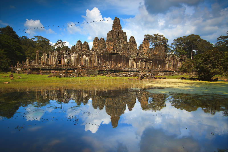 Bayon Temple in Siem Reap, Cambodia. Bayon Temple, Angkor Thom, Siem Reap, Cambodia royalty free stock photo