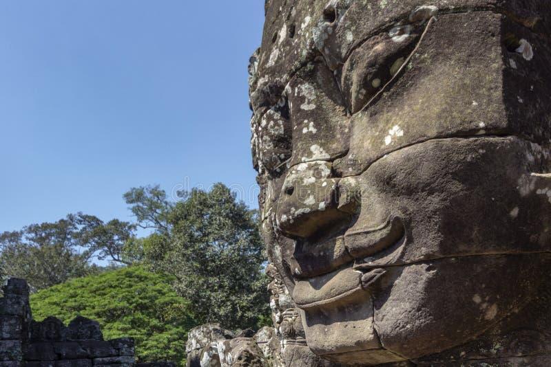 Bayon Templel som resas upp i séc XII på Angkor Thom, den sista huvudstaden av en khmervälden, Angkor cambodia skördar siem arkivfoto