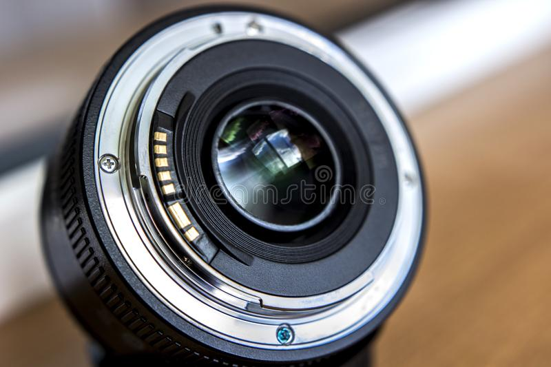 Bayonet lens. A lens with a fixed focal length. Bayonet lens. A lens with a fixed focal length royalty free stock photo