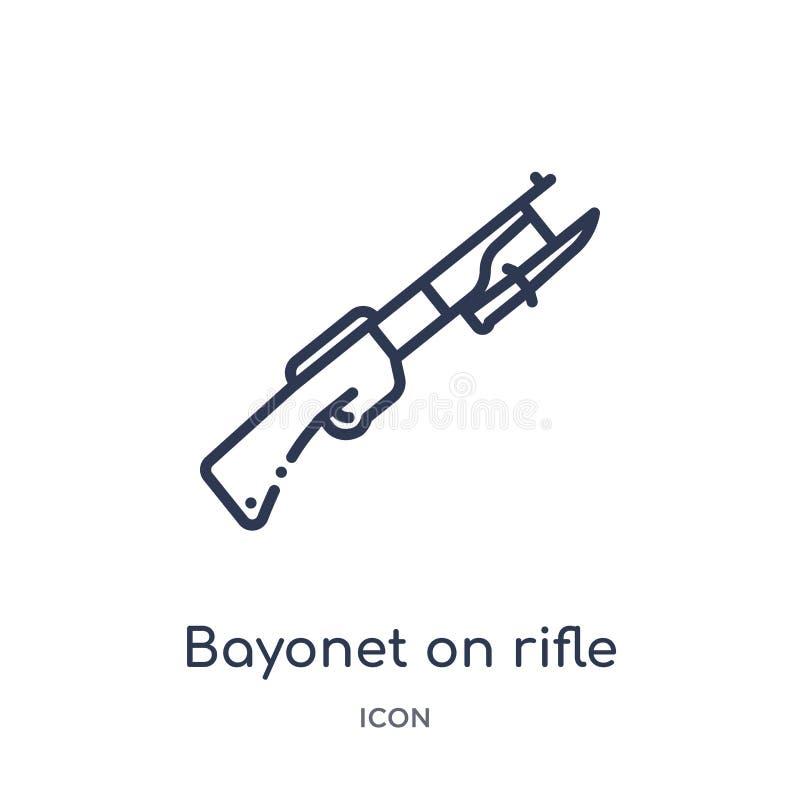 Bayoneta linear en icono del rifle de la colección del esquema del ejército y de la guerra Línea fina bayoneta en vector del rifl stock de ilustración