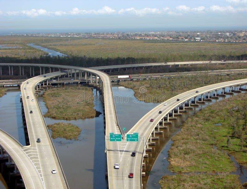 bayou highway interchange louisiana over swamp στοκ εικόνα