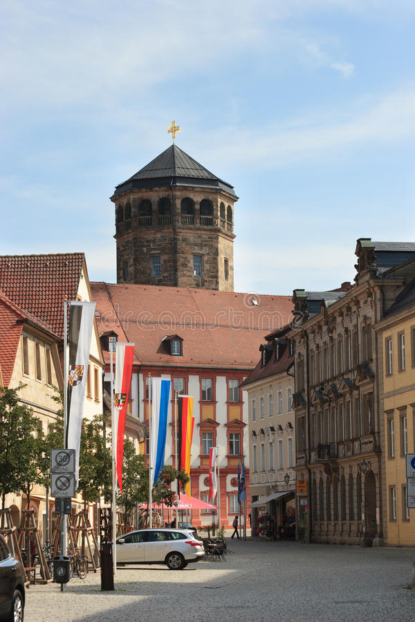 Bayreuth (Germany - Bavaria), Orthogonal church tower. View along Kanzlei street towards the orthogonal church tower of the old palace (Altes Schloss) in stock photos