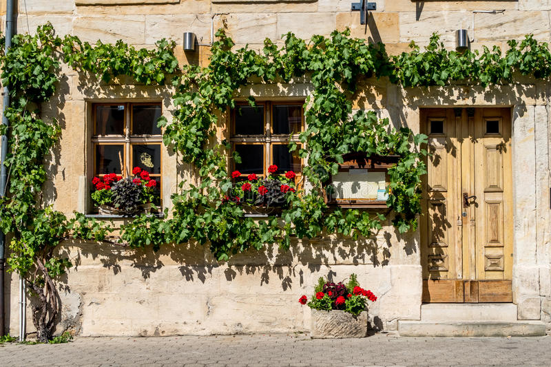 Bayreuth old town. Entrance to an Italian Restaurant. Bayreuth is a town in upper Franconia, northern Bavaria, Germany, on the Red Main river in a valley between stock photo