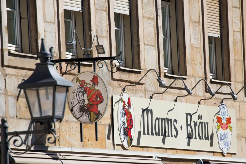 Bayreuth old town entry brewery Manns royalty free stock photo