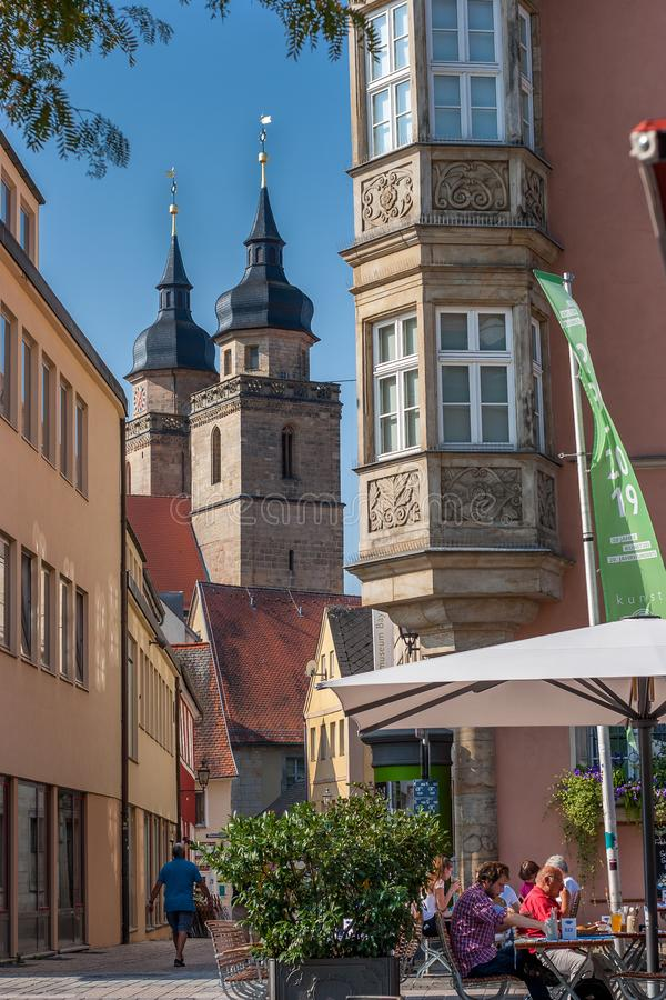 Bayreuth old town marketplace histrorical facade Maximilianstrasse royalty free stock images