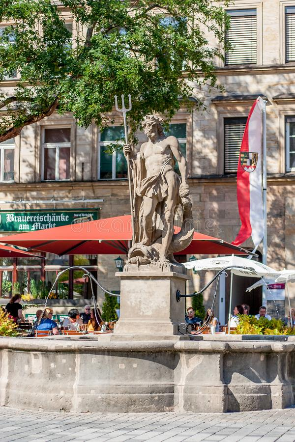 Bayreuth old town Neptune fountain royalty free stock photography