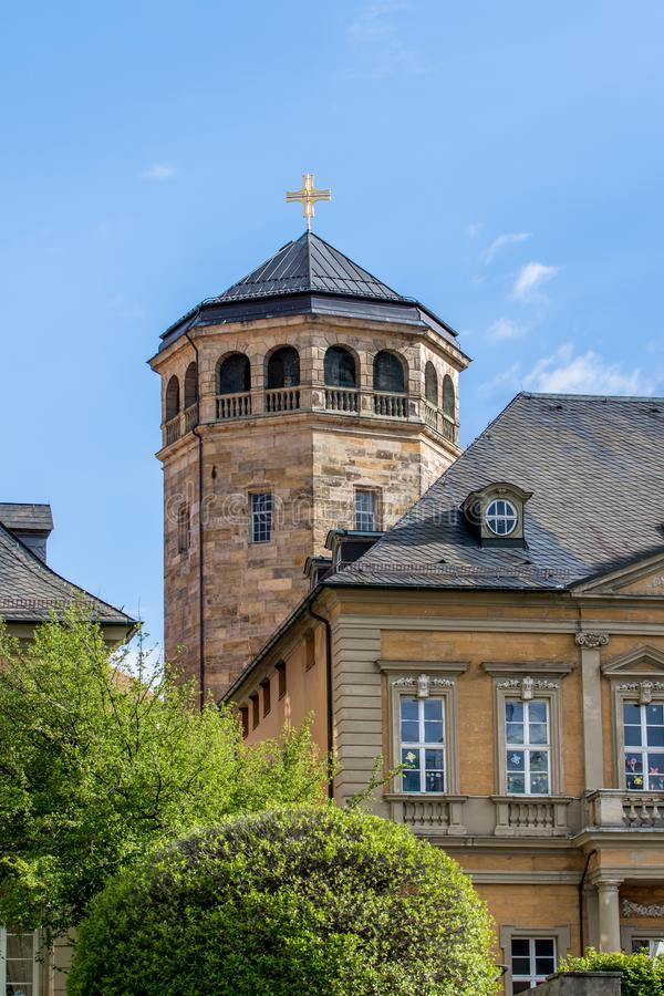 Bayreuth old town with the octagonal tower of the Castle Church Schloßkirche royalty free stock photos