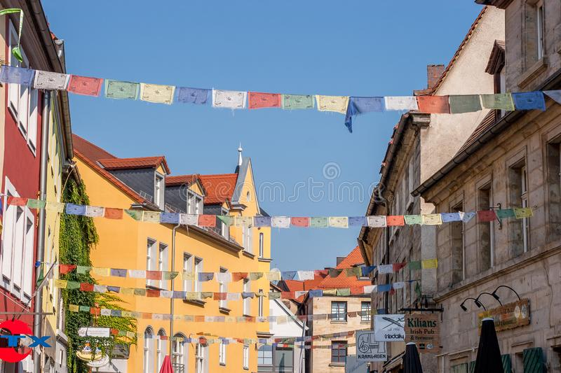 Bayreuth old town Roemergasse historical facades royalty free stock photo
