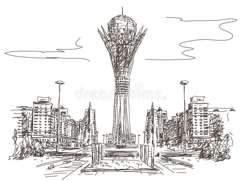 Bayterek wierza w Astana royalty ilustracja