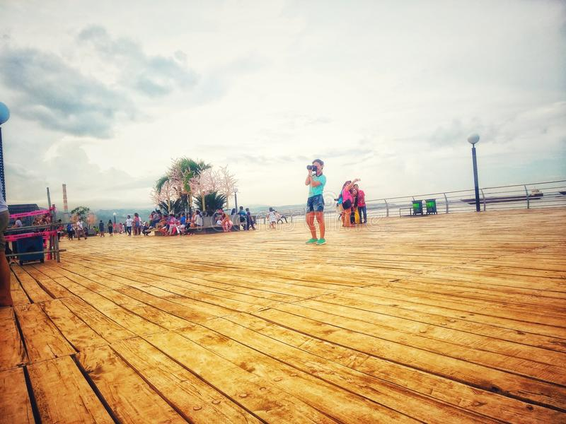 BAYWALK, CITY OF NAGA PHILIPPINES. Strolling with friends stock photography