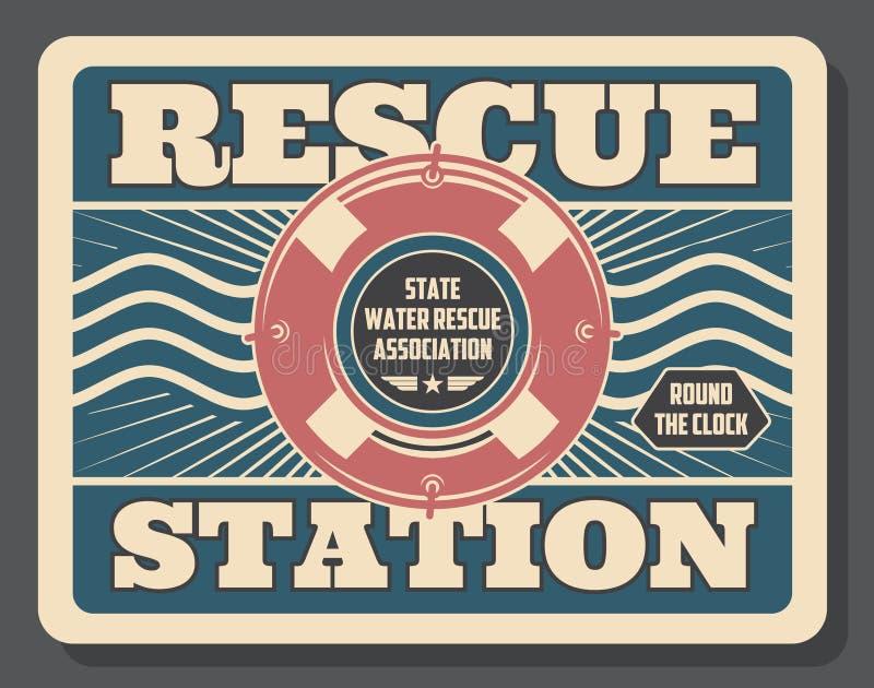 Baywatch, estação de salvamento, boia salva-vidas inflável ilustração royalty free