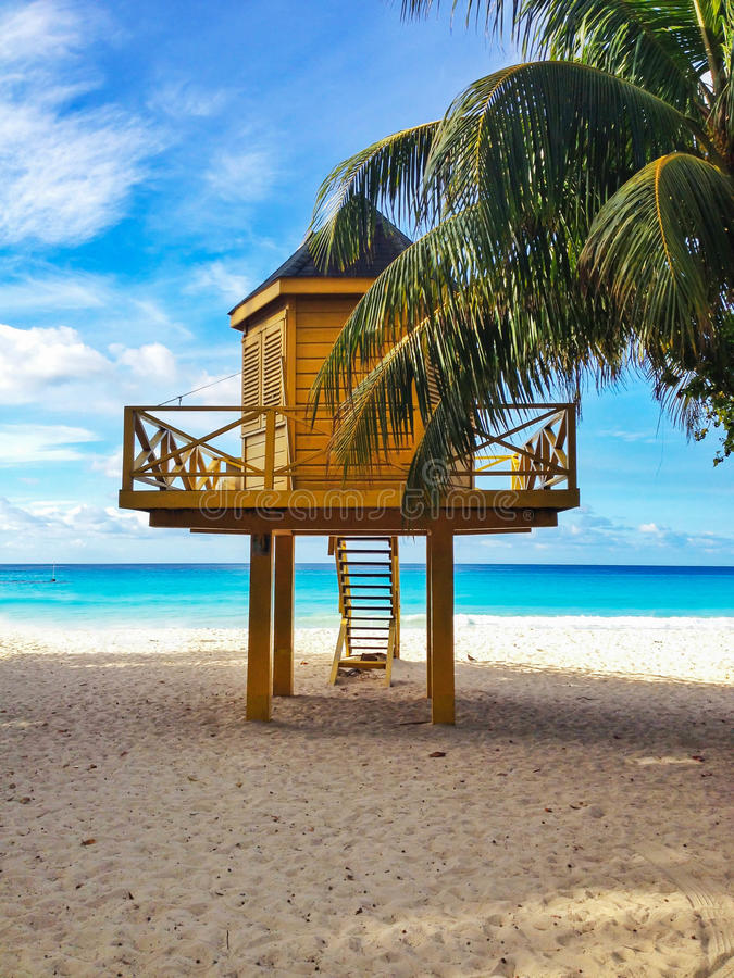 Baywatch tower in tropical beach. Baywatch tower at the beach in Barbados stock photos