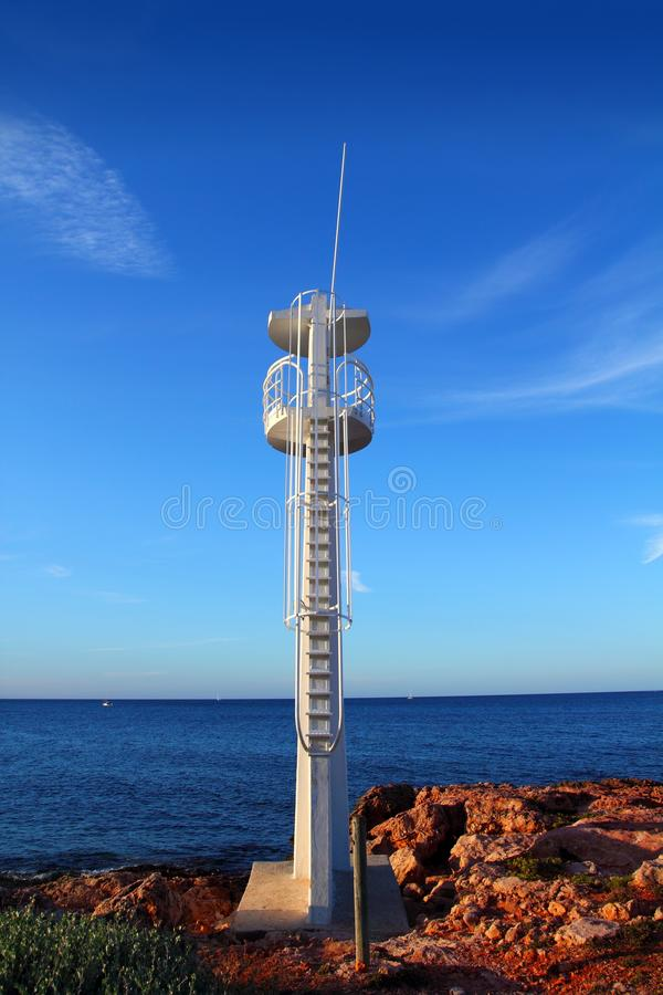Baywatch White Lookout Tower In Mediterranean Stock Photography
