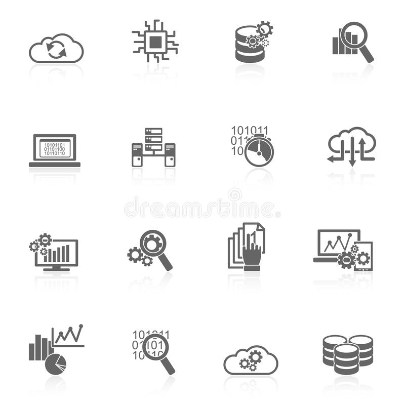 Baz danych analityka ikon czerń royalty ilustracja