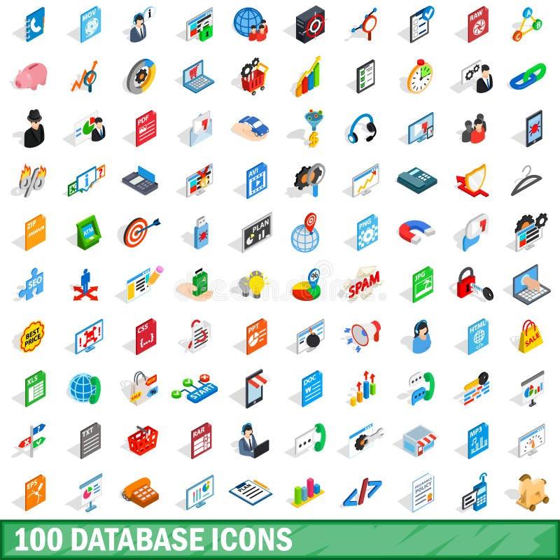 100 baz danych ikon ustawiających, isometric 3d styl ilustracja wektor