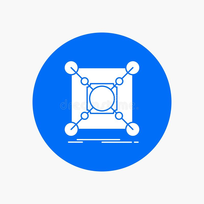 Baza, centrum, związek, dane, centrum glifu Biała ikona w okręgu Wektorowa guzik ilustracja royalty ilustracja
