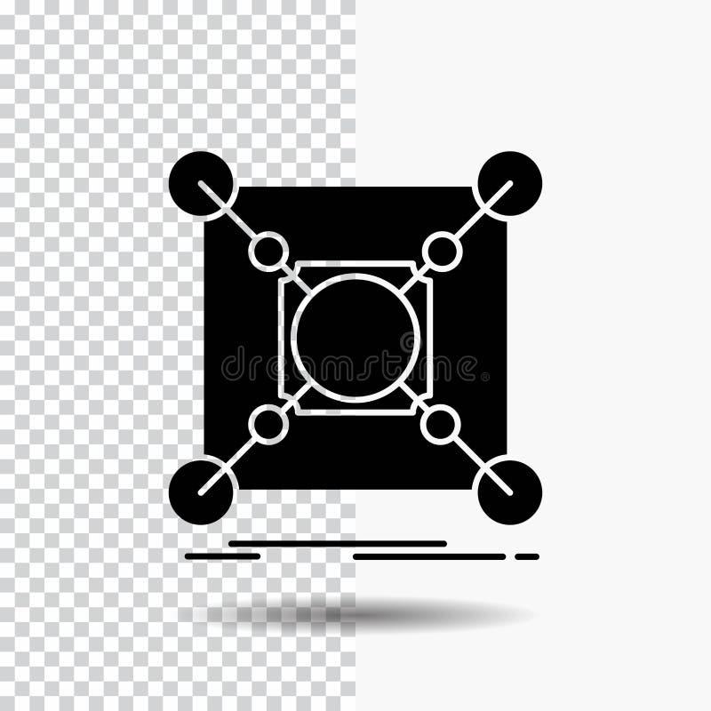 Baza, centrum, związek, dane, centrum glifu ikona na Przejrzystym tle Czarna ikona royalty ilustracja