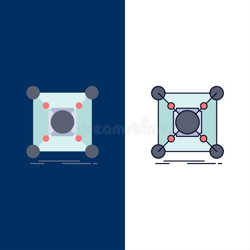 Baza, centrum, związek, dane, centrum koloru ikony Płaski wektor royalty ilustracja