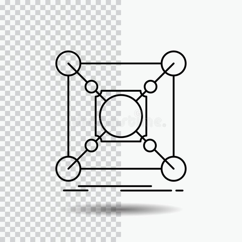 Baza, centrum, związek, dane, centrum Kreskowa ikona na Przejrzystym tle Czarna ikona wektoru ilustracja royalty ilustracja